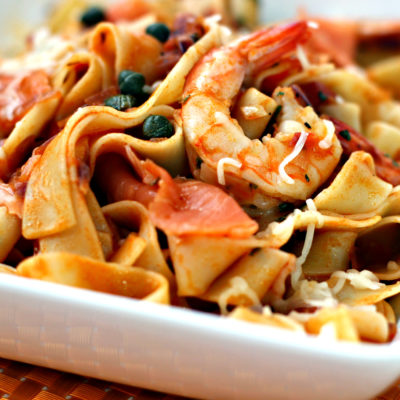 Pappardelle with shrimp and smoked salmon