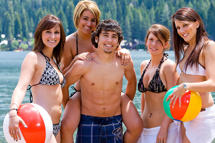 Group of friends at the lake